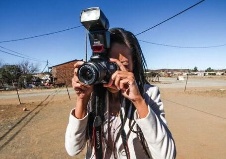 Lerato with camera, Jagersfontein